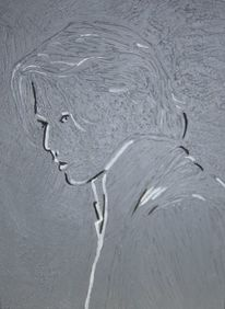 Portrait, Relief, Malerei, Acrylmalerei