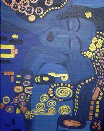 Gold, Nacht, Jugendstil, Malerei