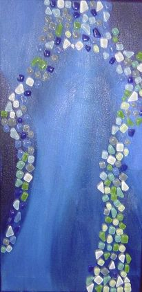 Mosaik, Acrylmalerei, Blau, Stein