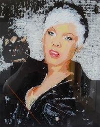 Sänger, Hinterglasmalerei, Portrait, Pink