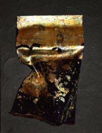 Acrylmalerei, Gold, Acrylglas, Blattgold