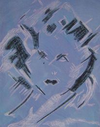 Pastellmalerei, Frau, Blau, Gesicht