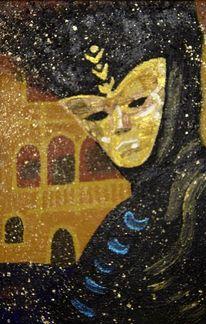 Gold, Venedig, Maske, Acrylmalerei