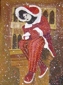 Acrylmalerei, Venedig, Malerei, Maske