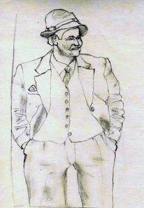 Hut, Bauer, Zeichnungen, Portrait