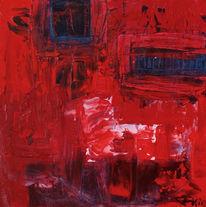 Schaukelpferd, Rot, Fenster, Mischtechnik