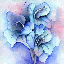 Blumen, Strelizien, Blau, Aquarell