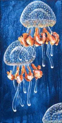 Qualle, Blau, Meer, Wasser