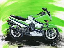Acrylmalerei, Kawasaki, Grün, Motorrad