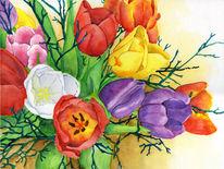 Blumen, Bunt, Tulpen, Frühling