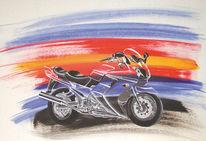 Kawasaki, Orange, Acrylmalerei, Blau