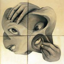 Acrylmalerei, Schwarzweiß, Malerei