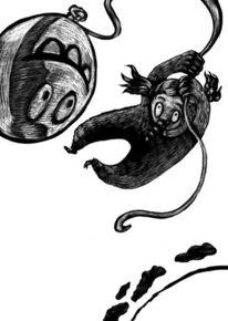 Schwarz weiß, Monster, Modern, Zeichnung