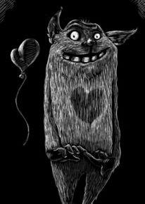 Schwarz weiß, Modern, Monster, Zeichnung