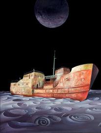 Mond, Schiff, Malerei