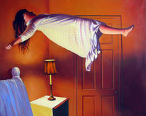 Mädchen, Ölmalerei, Fliegen, Surreal