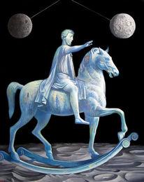Mond, Surreal, Schaukelpferd, Statue