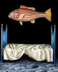 Mond, Bett, Ölmalerei, Fisch