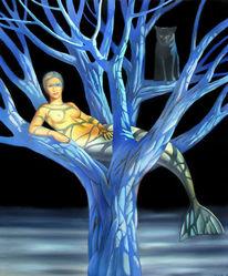Meerjungfrau, Ölmalerei, Baum, Nebel
