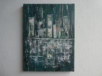 Spiegelung, Skyline, Glas, Acrylmalerei