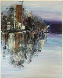 Wasser, Stadt, Acrylmalerei, Schwarz weiß