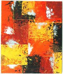 Mischtechnik, Rot schwarz, Orange, Abstrakt