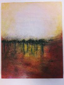 Spiegelung, Abstrakt, Spachteltechnik, Landschaft