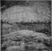Schwarz weiß, Acrylmalerei, Abstrakt, Kohlezeichnung