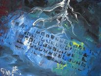 Blau, Blitz, Technik, Malerei