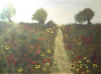 Weg, Wiese, Blumen, Malerei