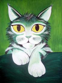 Grün, Katze, Tiere, Malerei