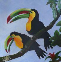 Vogel, Tukan, Acrylmalerei, Malerei