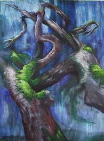Natur, Holz, Moos, Malerei
