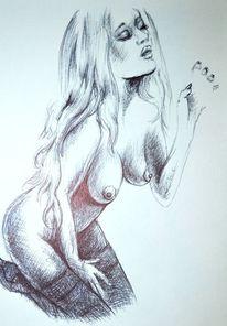 Erotiic, Körper, Aquarellmalerei, Fraueakt