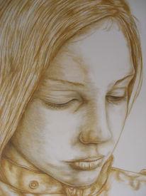 Portrait, Groß, Sepia, Tuschmalerei