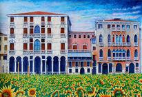 Sonnenblumen, Meer, Venedig, Sommer