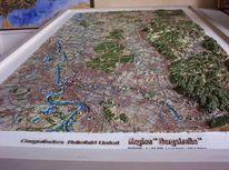 Wanderung, Landkarte, Hochwertig, Fluss