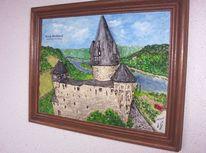 Rhein, Realismus, Landschaft, Burg