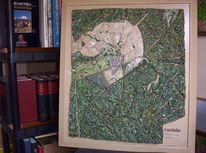 Aufhängen, Landkarte, Relief, Plastik