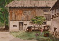Bauernhof, Aquarell, Figural, Ferien