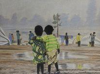 Afrika, Flüchtlinge, Malerei, Figural
