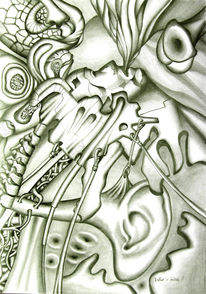 Kopf, Zeichnung, Moderne kunst, Surreal