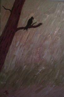 Vogel, Baum, Malerei, Tiere