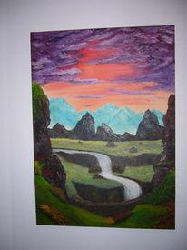 Wasserfall, Berge, Malerei