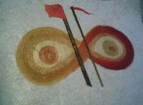 Rot, Gold, Acrylmalerei, Malerei