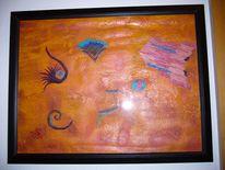 Orange, Fantasie, Abstrakt, Malerei