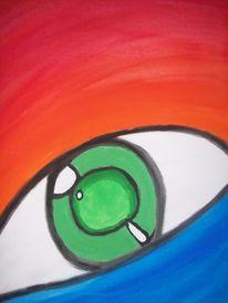 Hobbymalerei, Acrylmalerei, Augen, Bunt