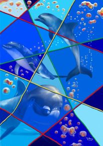 Delfin, Luftblasen, Grafiktablett, Delfinarium