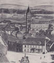 Neunkirchen, Bleistiftzeichnung, Geschichte, Oberer markt