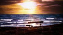 Dämmerung, Sand, Welle, Abend